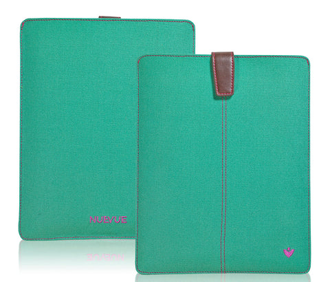 Apple iPad Sleeve Cover Case in Green Canvas | Screen Cleaning with Protective Antimicrobial Lining