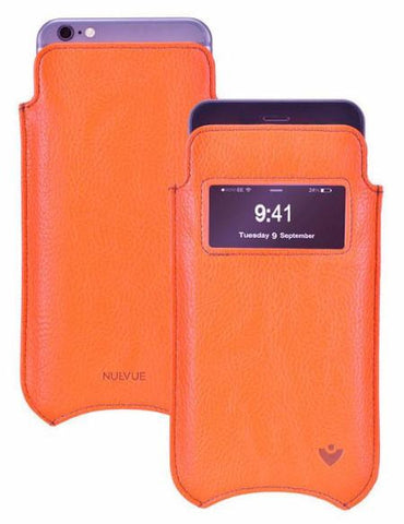 Flame Orange Vegan Leather 'Screen Cleaning' cover for Apple iPhone 6/6s Plus sleeve window case, with protective antimicrobial lining