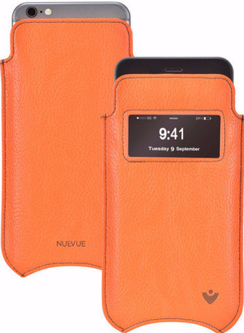iPhone SE-2020 Case in Orange Vegan Leather | Screen Cleaning Sanitizing Lining | Smart Window.