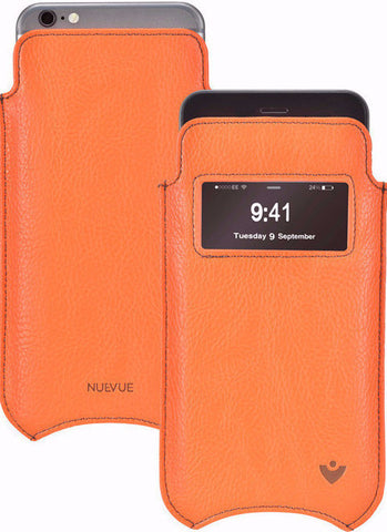 Vegan Genuine Leather 'Self Cleaning Technology' iPhone 7 Plus Flame Orange pouch case with window