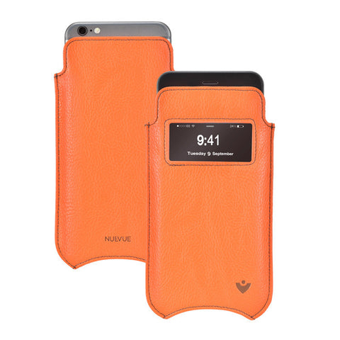 iPhone 6/6s Case in Flame Orange Vegan Leather | Screen Cleaning Sanitizing Lining | Smart Window