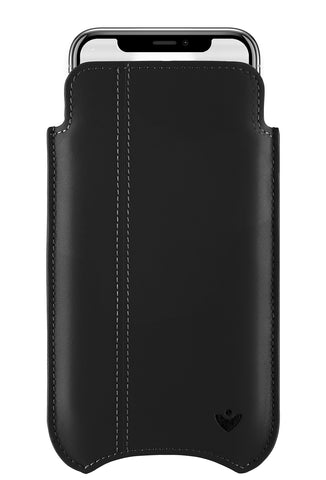 All Variations iPhone X Case Black Genuine USA Cowhide Leather.