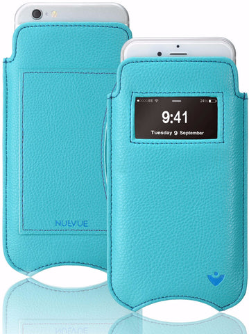 Vegan Leather 'Screen Cleaning' iPhone 7 Teal Blue pouch wallet case with antimicrobial lining, and smart window