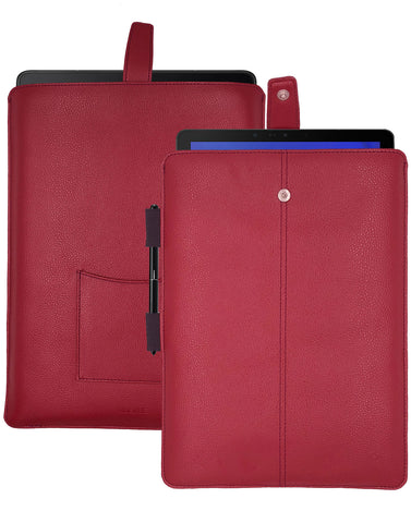 Samsung Galaxy Tab S4 Sleeve Case in Rose Red Faux Leather | Screen Cleaning and Sanitizing Lining.