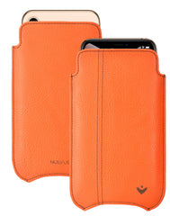 NueVue iPhone 11 Pro Max and iPhone Xs Max Case Faux Leather | Flame Orange | Sanitizing Screen Cleaning Case