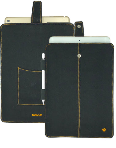 iPad Pro Sleeve Case in Black Cotton Twill 'Screen Cleaning' and Sanitizing Lining