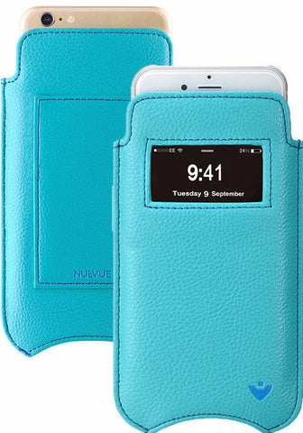 Vegan Genuine Leather 'Self Cleaning Technology' iPhone 7 Plus Teal Blue pouch wallet case with window