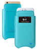 Teal Blue Vegan Leather 'Screen Cleaning' cover for Apple iPhone 6/6s Plus sleeve wallet case, with protective antimicrobial lining and smart window