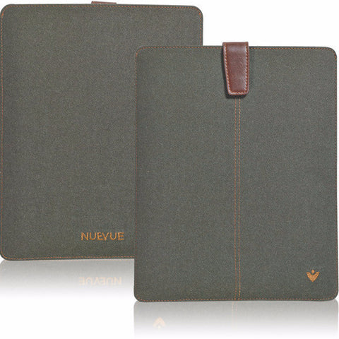 Green Cotton Twill 'Screen Cleaning' iPad sleeve case, with antimicrobial lining