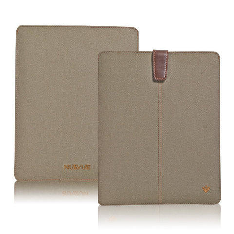 Khaki Cotton Twill 'Screen Cleaning' cover for Apple iPad sleeve case,  with protective antimicrobial lining