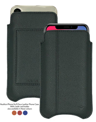 iPhone 11 Pro and iPhone X/Xs Wallet Cases | Screen Cleaning and Sanitizing Lining | Faux Vegan Leather.