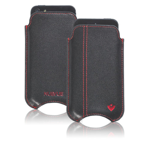 Black Leather 'Screen Cleaning' iPhone SE, 5 sleeve case, with antimicrobial lining and red stitching