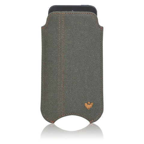 Green Cotton Twill 'Screen Cleaning' cover for Apple iPhone SE 5 sleeve case, with protective antimicrobial lining