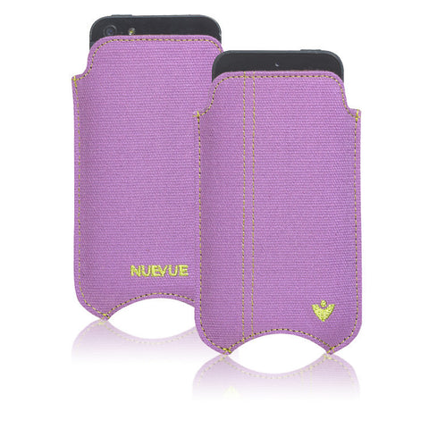 Apple iPhone SE-1st Gen, 5 Sleeve Case | Purple Canvas | Screen Cleaning Sanitizing Lining.