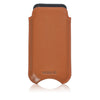 Tan Napa Leather 'Screen Cleaning' cover for Apple iPhone SE, 5 sleeve case, with protective antimicrobial lining and orange stitching
