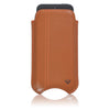 Tan Napa Leather 'Screen Cleaning' cover for Apple iPhone SE, 5 pouch wallet case, with protective antimicrobial lining