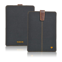 Black Cotton Twill 'Screen Cleaning' iPad Mini sleeve case, with protective antimicrobial lining