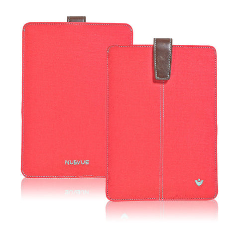 Apple iPad mini Sleeve Case in Coral Pink Canvas | Screen Cleaning Sanitizing Lining