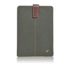 Green Cotton Twill 'Screen Cleaning' cover for Apple iPad Mini sleeve case, with protective antimicrobial lining