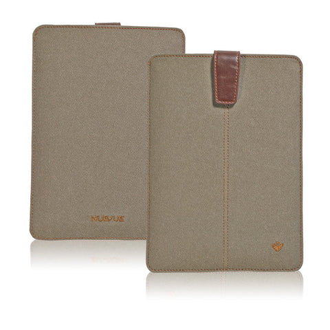 Khaki Cotton Twill 'Screen Cleaning' cover for Apple iPad Mini sleeve case, with protective antimicrobial lining