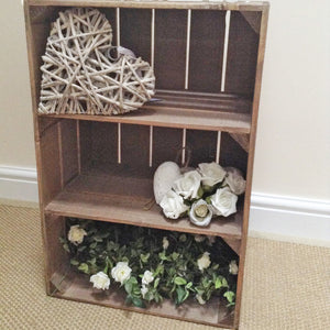 WOODEN APPLE CRATE WITH 2 INTERNAL SHELVES