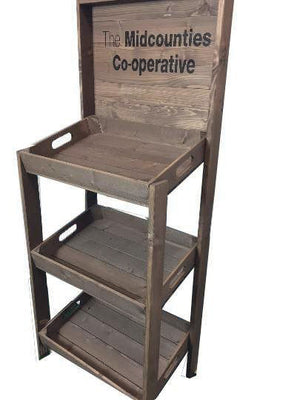 RUSTIC WOODEN RETAIL DISPLAY UNIT, FSDU