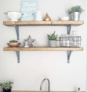 RUSTIC WOODEN CHUNKY SCAFFOLD BOARD STYLE SHELF