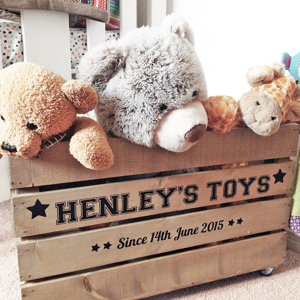 Personalised Rustic Wooden Toy Crate Box