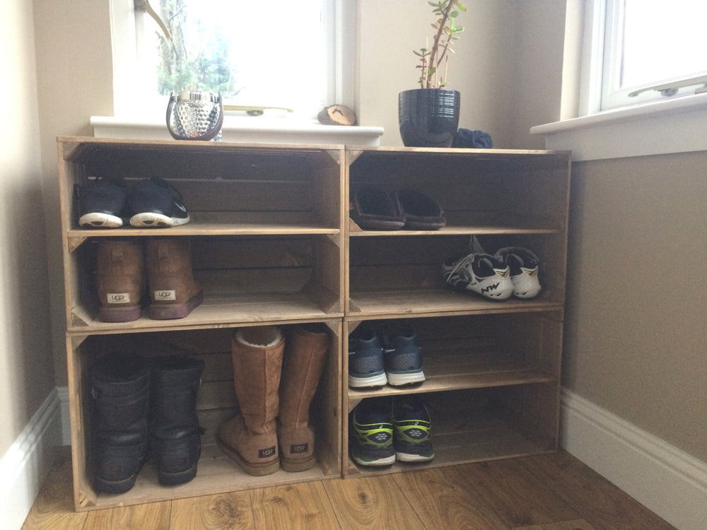 Load image into Gallery viewer, EXTRA DEPTH wooden shoe rack.