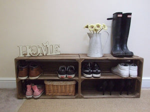 2 x Wooden Apple Crate Shoe Rack - Rustic, Vintage, Style Shoe or Display Shelf