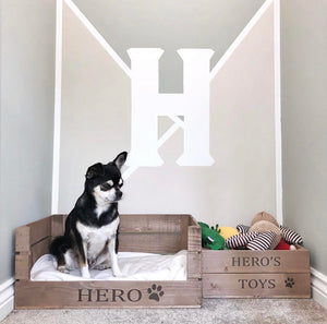 PERSONALISED WOODEN PET BED & PET TOY CRATE SET