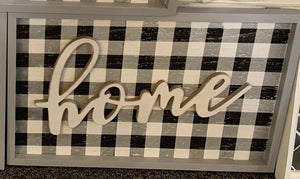 Plaid HOME wall sign