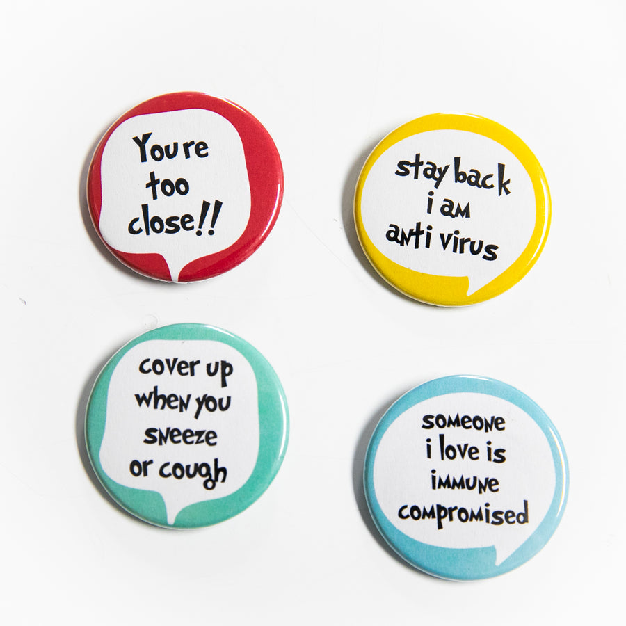 Bundle of 4 - Pin Buttons - giggleandriotfun