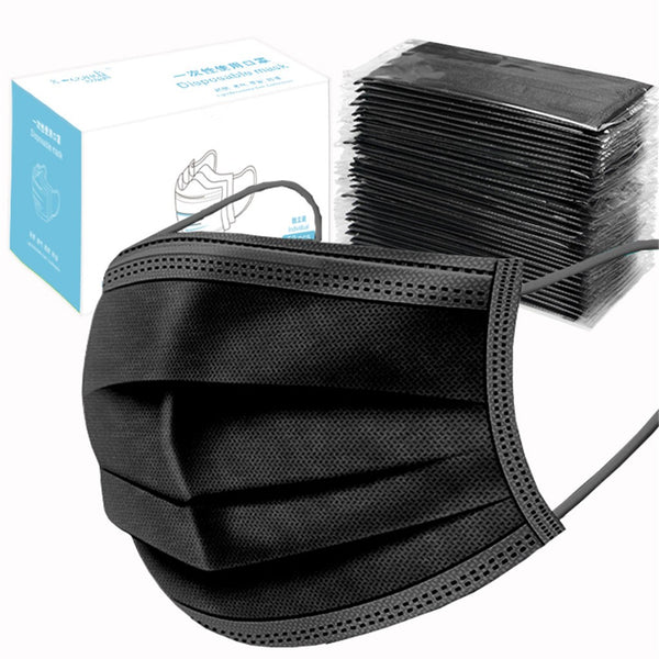 Black Wholesale Disposable 3-Ply Ear Loop Face Masks for Sale