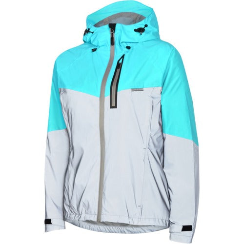 Madison Stellar Womens Reflective Silver/Caribbean Blue Jacket Front