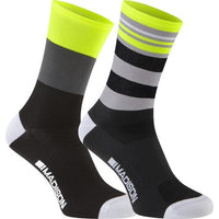 Madison Sportive Mens Long Sock Hi-Viz Yellow / Black Twin Pack