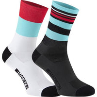 Madison Sportive Mens Long Sock Blue Curaco / Flame Red Twin Pack