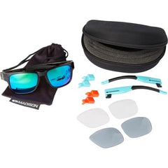 Madison Crossfire 3 Lens Kit Gloss Black Frame - Green Mirror/Smoke/Clear Lens