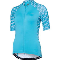 Madison Sportive Womens Short Sleeve Geo Camo Blue Curaco Jersey Front