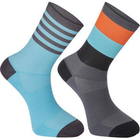 Madison Sportive Mens Mid Sock Block Stripe Dark Shadow / Blue Curaco Twin Pack