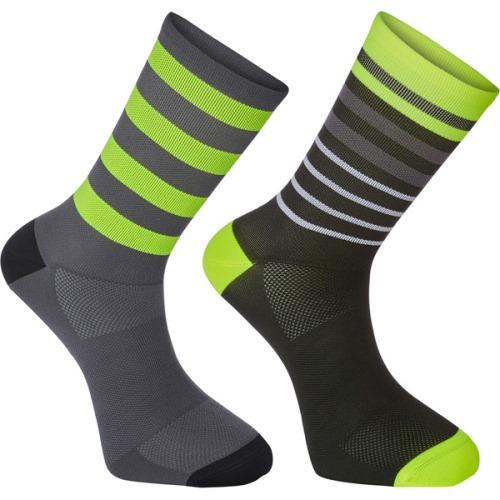 Madison Sportive Mens Long Sock Multi Hoops Black / Hi-Viz Yellow Twin Pack