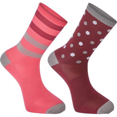 Madison Sportive Mens Long Sock Hex Dots Classy Burgandy/Bright Berry Twin Pack
