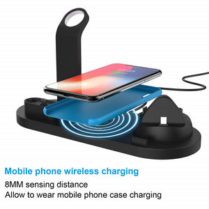 10W Qi Wireless Charger Dock Station 4 in 1 For Iphone Airpods Micro USB Type c