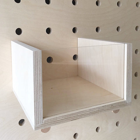 Wooden box with acrylic front for pegboards