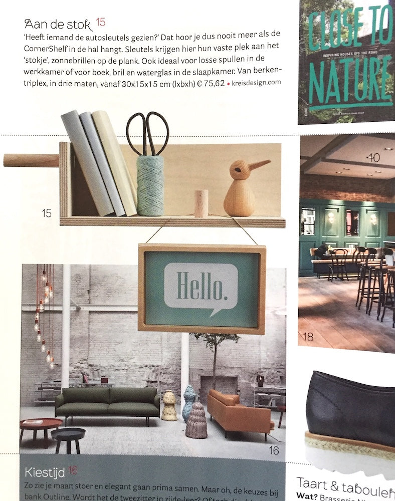 Vtwonen Magazine features Kreisdesign CornerShelf little in birch plywood