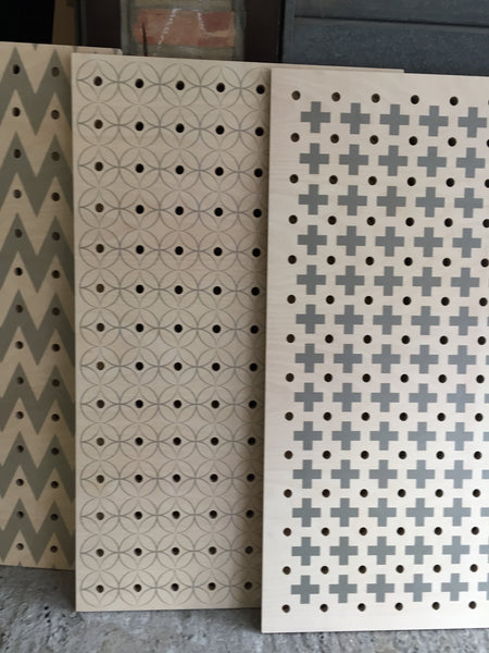 Patterned pegboards by Kreisdesign in various patterns