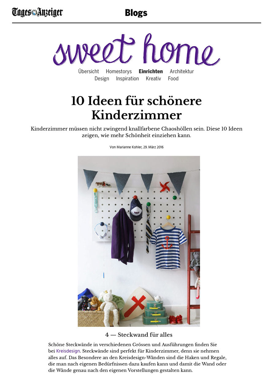 Swiss Newspaper Tages Anzeiger features Kreisdesign pegboards / Steckwaende
