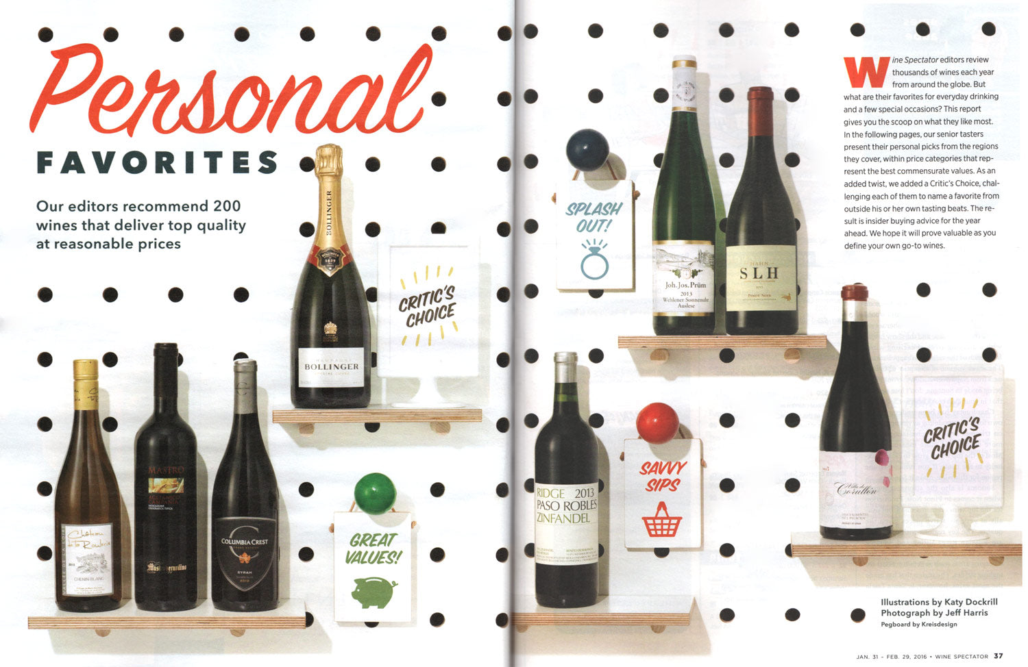 US Wine Spectator magazine features our pegboard to display their editors favourite wine picks in their January 2016 issue