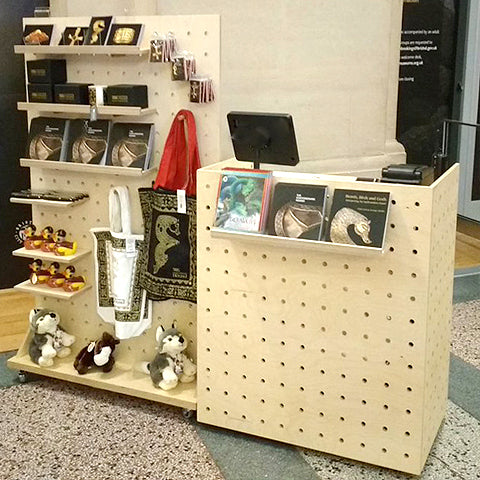 Custom made till point and pegboard no wheels for the Bristol Museum pop-up Christmas shop - made by Kreisdesign