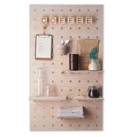 Pegboard for Coffee shops from kreisdesign with custom shelves and lettering made from birch plywood